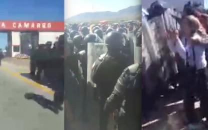 Video: Entre empujones liberan antimotines caseta de Camargo
