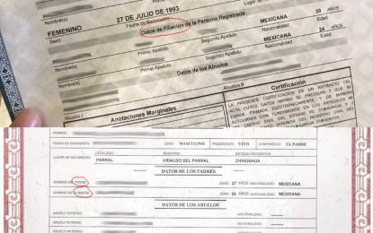 Actas de nacimiento ¡no mencionan al padre y la madre! del registrado
