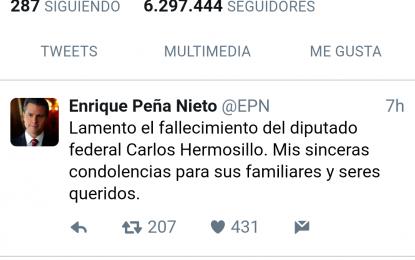 Tuitea Peña Nieto condolencias por muerte de Hermosillo