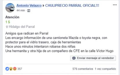 Denuncian a través de Facebook intento de robo de dos niñas en el barrio del Conejo