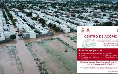 #FuerzaSinaloa: solicitan ayuda para damnificados por inundaciones