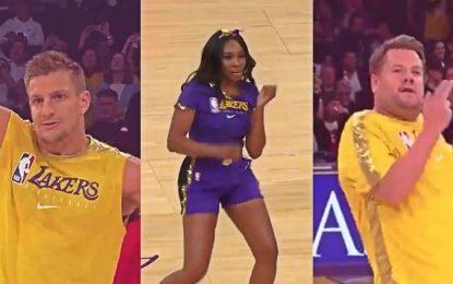 VÍDEO: Gronkowski, Venus y James Corden nuevos porristas de Lakers