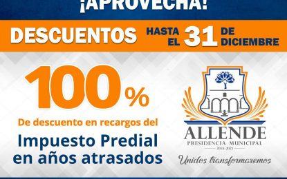 Ofrecen 100% de descuento en pago de predial de Allende