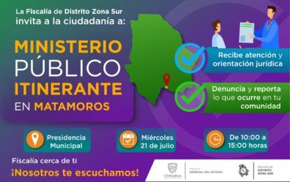 """Estará """"Ministerio Público Itinerante"""" en Matamoros"""