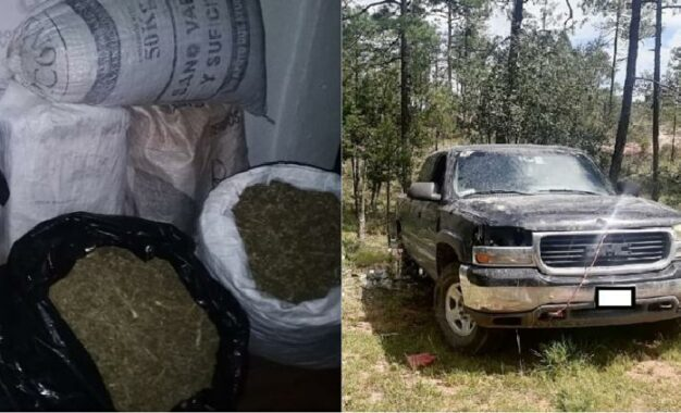 Aseguran 134 kilos de marihuana al interior de GMC robada en Ocampo