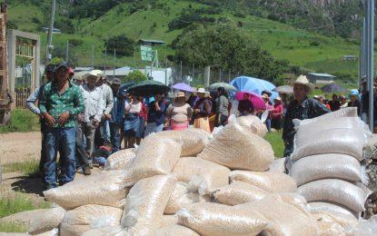 Entregan apoyos a los habitantes de Mesa del Durazno en Guadalupe y Calvo