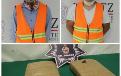 Arrestan en Juárez a dos presuntos narcotraficantes con 2 kilos 200 gramos de cristal para elaborar más de 8 mil dosis
