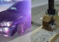 Conductora al volante impacta contra un poste